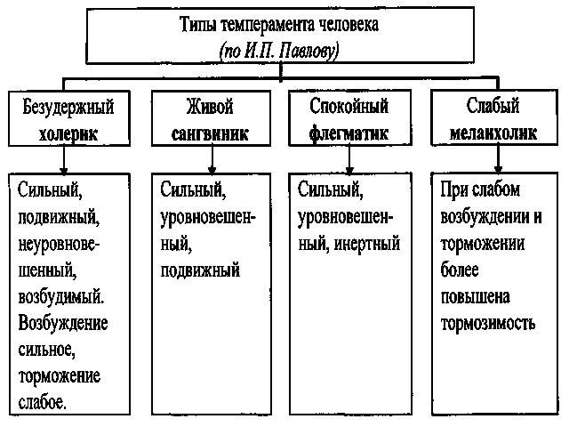 Виды темперамента