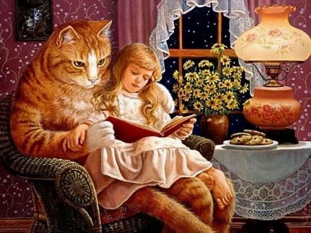 Кот читает девочке