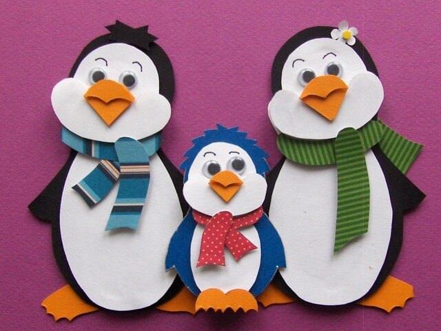 Аппликация три пингвина