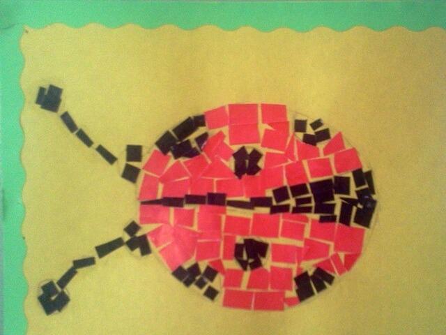 Аппликация из кусочков цветной бумаги