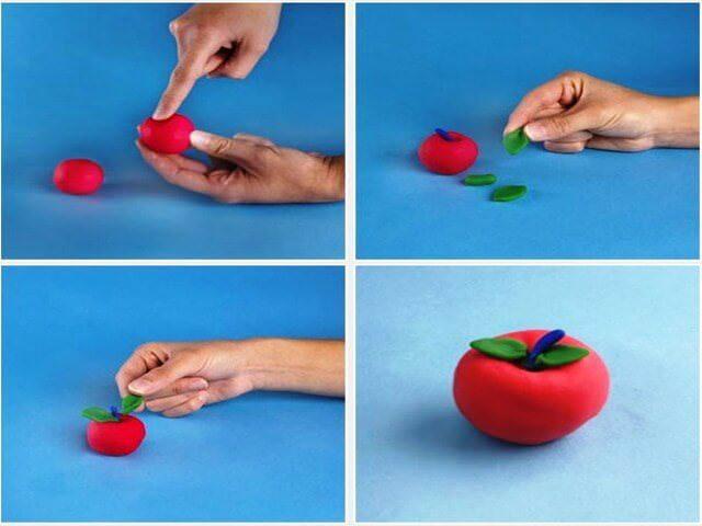 Как сделать яблоко из пластилина