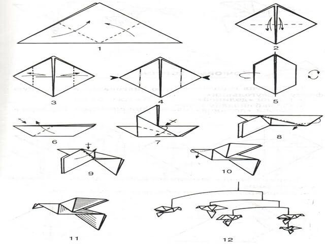 Схема изготовления голубя оригами