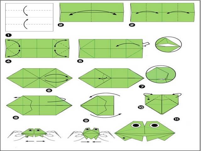 Как сделать прыгающую лягушку из бумаги своими руками по этапам в картинках 53