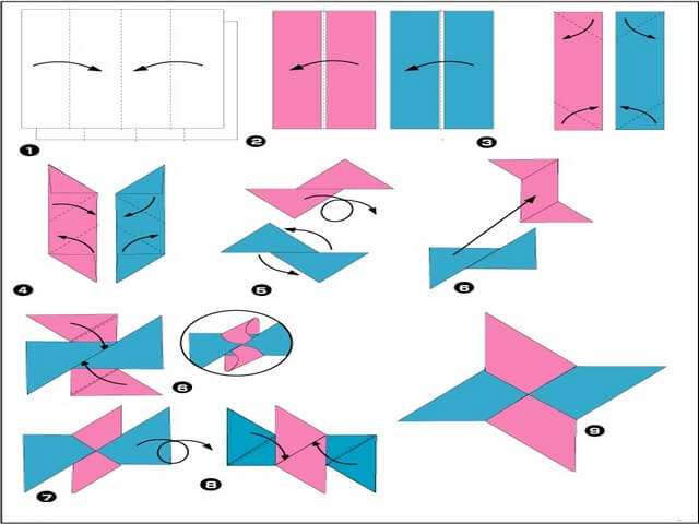 Оригами из бумаги оружие сюрикен