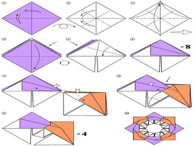 Как сделать 8-конечный сюрикен из бумаги