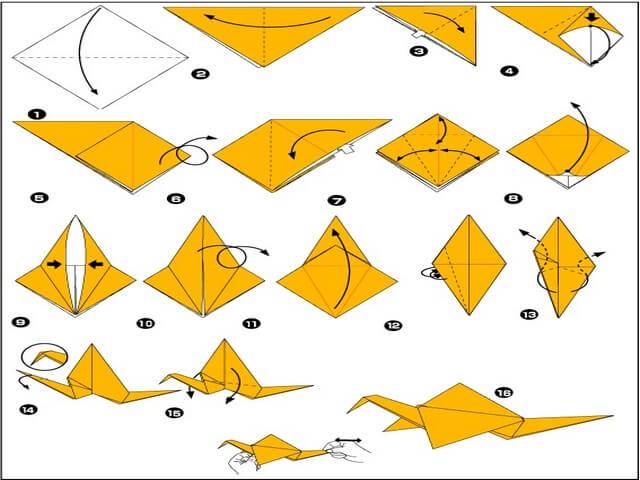 Схема оригами журавлика