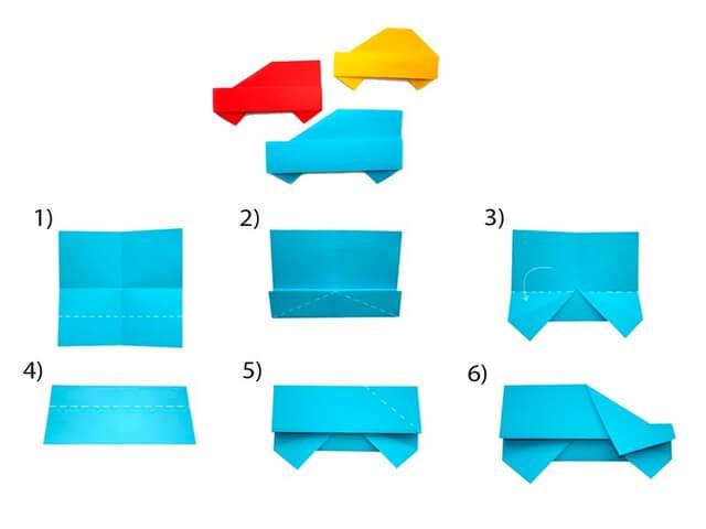 Собирание машинки из бумаги