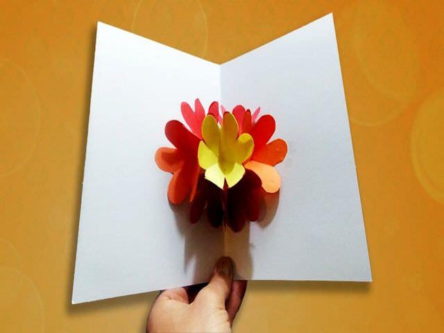 Объемная открытка с цветами внутри как сделать