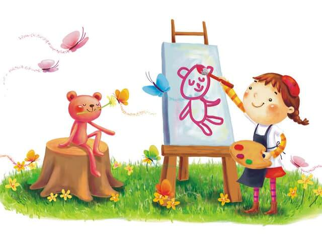 Ребенок рисует мишку