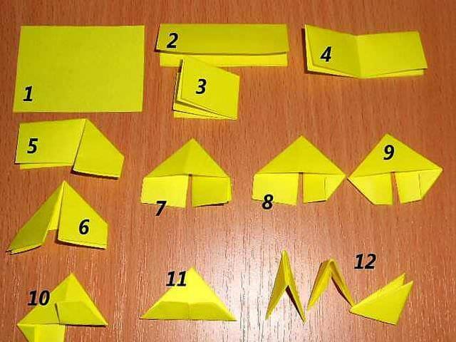 Оригами из треугольных модулей поделки